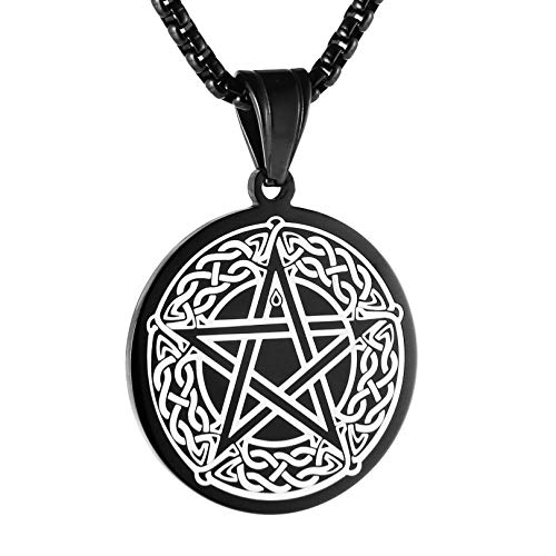 HZMAN Mens Celtic Pentagram Stainless Steel Coin Medal Pendant Necklace, Gold Black Silver, 22+2 inch Chain