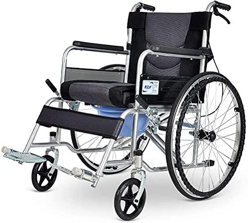 WSVULLD Silla de inodoro de la inodoro plegable, silla de ruedas con plegable ligero de acero plegable con silla de ruedas con hojas de mano, inodoro con ruedas, cinturón de seguridad ajustable de res
