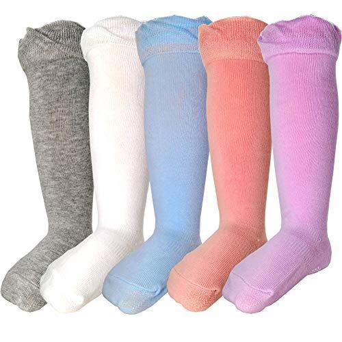 5 pares de calcetines de algodón para bebé hasta la rodilla calcetines largos antideslizantes - - 12-36 meses