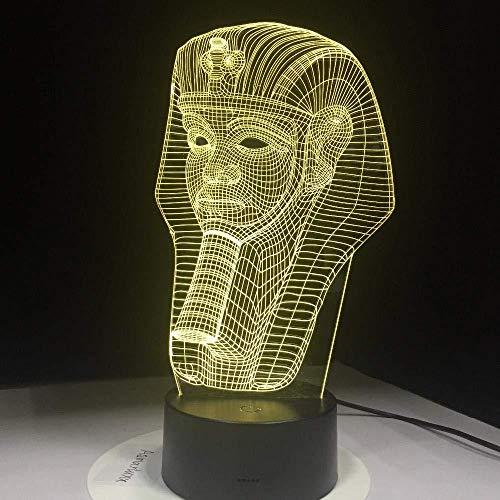 Nachtlampje lamp illusie 3D Pharao Egyptische dood geschikt voor slaapkamer (geschenken voor kinderen jongens paar meisjes) Kerstmis Valentijnsdag Black Friday Halloween