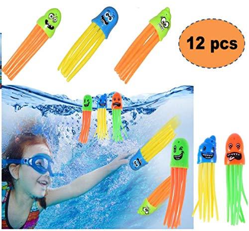 ML 12 Juguete de Buceo como Medusa, Juguete de Baño, Juguete de Bañera, Juguetes de Piscina para Niños pulpos Juego de Buceo para Aprender a bucear para niños