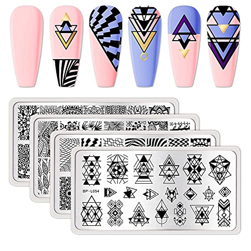 BORN PRETTY Nail Stamping Plates Kit 4Pcs Image Plates Geometry Leaves Datura Flowers Stamp...