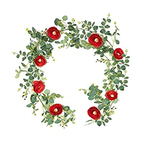Houele Artificial Eucalyptus Garland Camellia Faux Silk Greenery Vine with Eucalyptus Leaves Greenery Garland Flower Decorations Eucalyptus Garland Wedding Table Decor 6 Feet 1 Pack(Wine Red Camellia)