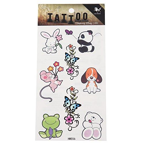 Chic-Net lijm tattoo dierbaby's panda haas muis hond kikker beer ornament 1 vel 8 ontwerpen