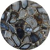 Rajasthan Gems handgefertigter Halbedelstein Kaffeebraun runde Tischplatte natürlicher Achat Stein