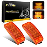 Partsam 2pcs 6' Amber LED Rectangle Tail Stop Marker Light Trailer Truck RV 3 Wires 21LED, 6x2 Rectangular Led Clearance Lights, 2x6 Big Side Marker Lights