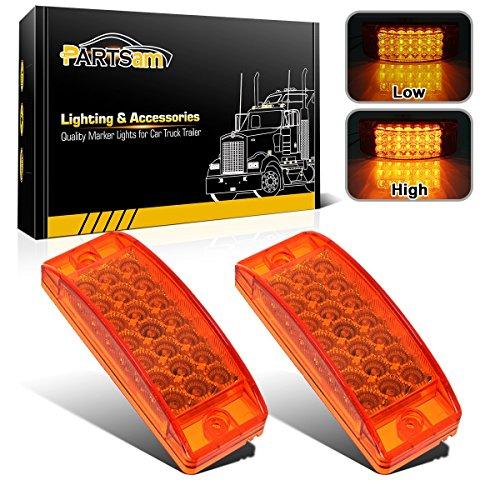 Partsam 2pcs 6 Amber LED Rectangle Tail Stop Marker Light Trailer Truck RV 3 Wires 21LED, 6x2 Rectangular Led Clearance Lights, 2x6 Big Side Marker Lights