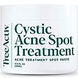 TreeActiv Cystic Acne Spot Treatment, 3% Sulfur Blemish Remover for Men, Women, Teens & Adults, Hormonal Acne Treatment with Aloe Vera, Bentonite, Witch Hazel & Tea Tree Oil for Skin, 120+ Treatments