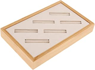 Baosity Vintage Wood Ring Earring Jewelry Display Box Case Organizer Storage 6 Grids - Beige