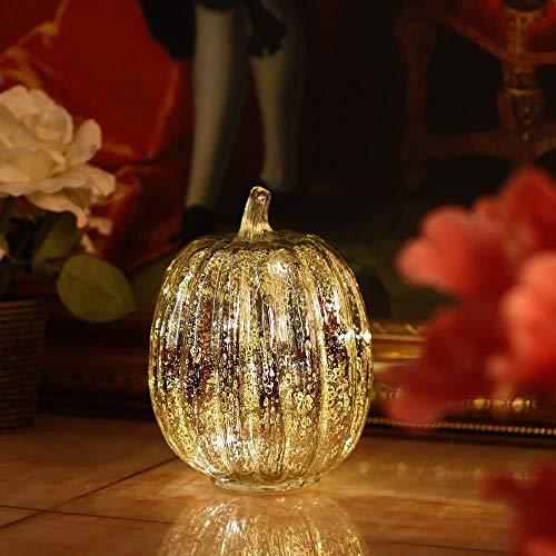 QVC Kürbis Laterne Licht Batterie betrieben mit Timer Kürbisse Glas für Halloween Kürbis Dekorationen Herbst Dekor (Gold 7,7
