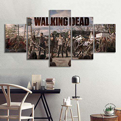 VENDISART,Leinwanddrucke,Modulare Wandkunst Wandaufkleber,5 Teiliges Wandbild,Zombies Horrorfilm Walking Dead,Mit Rahmen,Größe:M/B=150Cm,H=80Cm