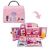 deAO 2-in-1-Spielset für Kinder in Rosa mit tragbarem Puppenhaus, Licht- und Musikfunktionen,...