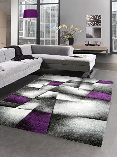 CARPETIA Modern Tapis Poil Ras Tapis de Salon résumé Karo Noir Gris Blanc Violet (160x230 cm)