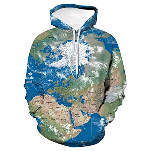 YAYAKI Kapuzenpullover Unisex 3D Druck Hoodie Sweat Langarm Sweatshirt Kapuzenjacke Mit Taschen Fashion Sweatjacke Pullover Party Kleidung Groß Größe Hooded T-Shirt S-5XL (Blau-7,4XL