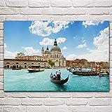 WSHIYI Venecia Barcos Edificios ríos Canal Gente Ciudades Paisaje Urbano Sala de Estar hogar Arte de la Pared decoración Cartel 60x90 cm (23,6x35,4 Pulgadas) sin Marco