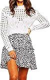 Balasami Women's Ruffled Floral High Waist Flared Mini Skater Skirt with Drawstring