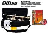 Clifton Trompete für Anfänger wie auch Fortgeschritteme, Bb, Textil Formkoffer, Mundstück Yamah Style C7, Lernbuch mit Karaoke CD
