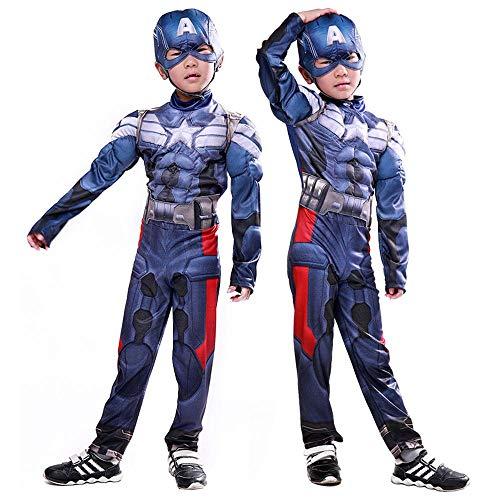 COSPLA Costume Cosplay Bambino Capitan America The Avengers Hero Muscle Clothing 3D Stretto Natale Halloween Fancy Dress M
