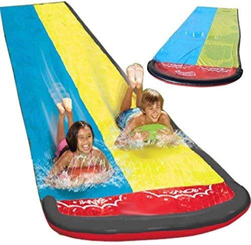 Skyloving Summer Outdoors Slip and Slide, Inflatable Crash Pad and Central Spray Channel for Races, Garden Racing Slide Summer Toy