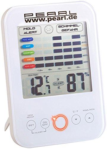 PEARL Schimmelalarm: Digital-Hygrometer/Thermometer mit Schimmel-Alarm und LCD-Display (Raumfeuchtemesser)
