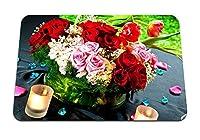 26cmx21cm マウスパッド (バラ花カスミソウ組成装飾キャンドルロマンス石花びら) パターンカスタムの マウスパッド
