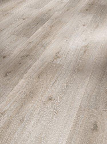 Parador Klick Vinyl Bodenbelag Classic 2030 Eiche Royal weiß gekälkt Landhausdiele Gebürstete Struktur 1,825m², hochwertige Holzoptik hell grau 9,6mm, einfache Verlegung