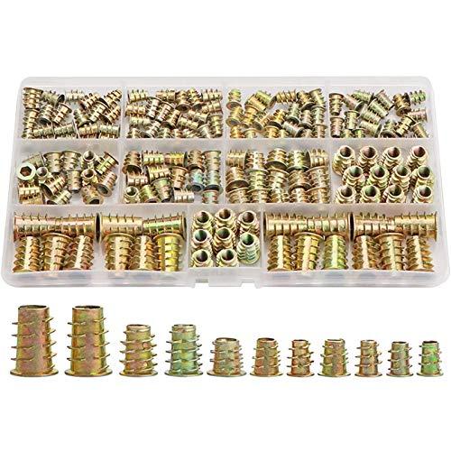 YUNSI Inserciones roscadas Nueces, Kit de Herramientas de Surtido de inserción de Madera, M4 / M5 / M6 / M8 Tornillo de Muebles Inserciones de Tornillo Sujetador (165 PCS)