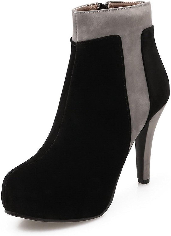 AdeeSu Ladies Fur Collar Platform Zipper Frosted Boots