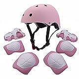 Kids Youth Sports Set protettivo con elmetto Protezione polso gomito al polso protezione per pattini a rullo BMX Bike Skateboard, rosa
