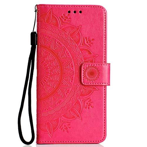 Funda para Xiaomi Mi Note 10/Xiaomi Mi Note 10 Pro, con absorción de golpes de piel sintética en relieve, diseño de mandala con ranuras para tarjetas, tapa magnética, a prueba de golpes, color rojo
