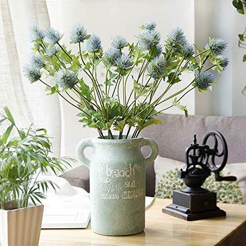 Kmiunty 5Pcs Artificial Flowers Eryngo Fake Eryngium Foetidum for Home Wedding Decor Wreath Plants Table Accessory (Blue)