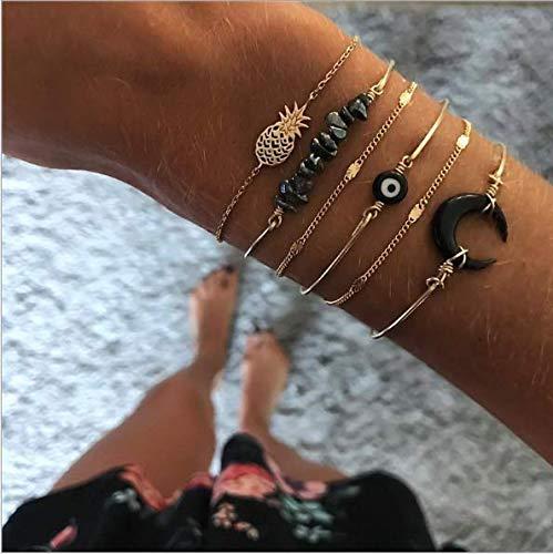 Cathercing 6 Pack Armband Set voor Vrouwen Meisjes Sieraden Armband Strand met Kralen Maan Ananas Boho Armband Anklet Set Verstelbare Handgemaakte Dagelijkse Sieraden Gift voor Tiener Meisjes