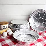 """HomeyGear 9"""" Round Disposable Aluminum Foil Pans with Straight Walls for Serving, Baking, Roasting & Reheating Freezer and Oven Safe, Recyclable, 40-Pack of Quinche Tins for Meal Prep & Storage"""