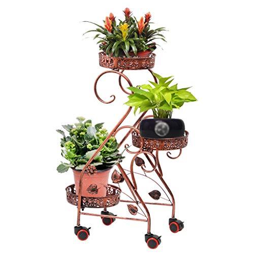 ZHEYANG Soporte para plantas con soporte de metal para balcón, soporte para plantas con 3 niveles, estante multifunción para jardín, terraza, regalo para esposa (color: rojo cobre)