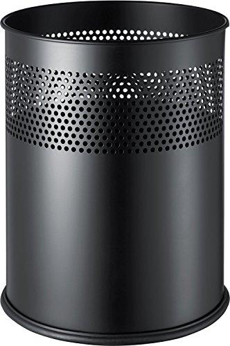 helit h2515795 – Corbeille à papier en métal, 15 l Noir