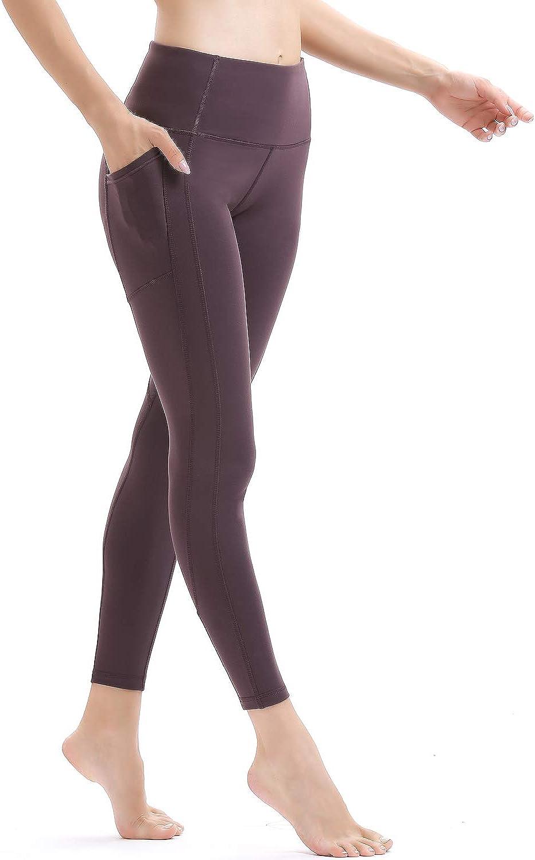 Persit Women's High Waist Yoga Pants with 2 Pockets, Non SeeThrough Tummy Control 4 Way Stretch Yoga Leggings