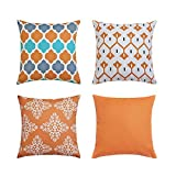 Pack of 4 Orange Outdoor Waterproof Double-sided Printing Decorative Throw Pillow Cover Cushion