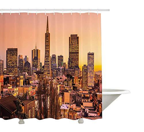 Yeuss appartement Decor Collection, San Francisco Skyline au coucher du soleil California USA Downtown Panorama, tissu de polyester de salle de bain Rideau de douche avec ensemble de crochets