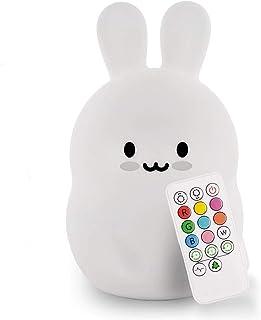 Grande Conejo Luz de noche, Luz nocturna para niños, Lámpara de silicona, Resistente a Rotura, Cuidado Ojos, Brillo y Color Ajustable, Configuracion de hora, Control Táctil + Control Remoto - Grande