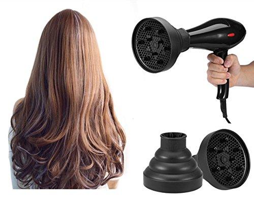 Pliable Sèche-Cheveux Accessoires Diffuseurs Couverture Styling Coiffure Outil pour les Cheveux Boucles ou Ondulés-5 Couleurs (Noir)