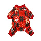 Fitwarm Christmas Plaid Dog Pajamas Pet Clothes Onesies Cat Costumes Outfits Santa Reindeer Snowman Red Lightweight Velvet Red Small