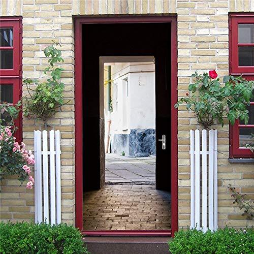 DFKJ 3D Puerta de Hierro Oxidado Acogedor Reflejo Puerta Pegatina decoración del hogar calcomanías Decorativas para Sala de Estar Dormitorio A22 77x200cm