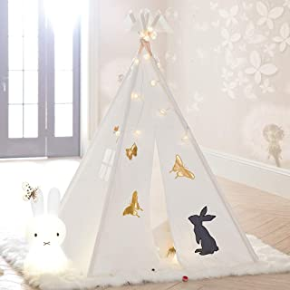 Tree Bud Teepee Tent for Kids, Classic Indian Style Play Tent with Window & Embroidery Pattern for Girls and Boys, Children's Playhouse for Indoor & Outdoor with Carry Bag