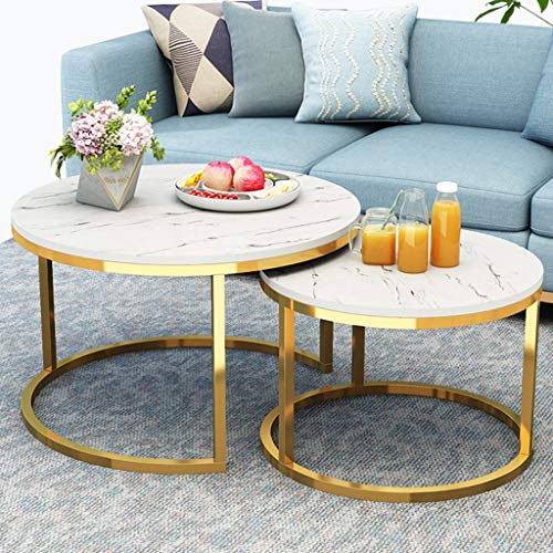 GYX-Coffee Tables Modern 2 Piece Nesting Table Round Side Table, Nordic Style, Gold Base
