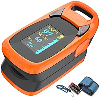 Fingertip Pulse Oximeter with Plethysmograph and Perfusion Index Include Carrying case Large OLED Digital Display Blood Oxygen Saturation Monitor Heart Rate Monitor  Color  Red-Orange