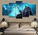 LCCWLH Stampe e Quadri su Tela World of Warcraft 5 Pezzi Videogioco Wow Dota 2 Pittura Poster Art Room Decorazione Pittura Murale Tela [A] Frameless