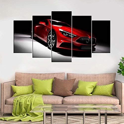 KOPASD 5 Piezas Decor Salon Murales Coche Deportivo Rojo Pasillo Decor Arte Pared Enmarcado HD Impresión Regalo (Enmarcado Tamaño 200x100cm)