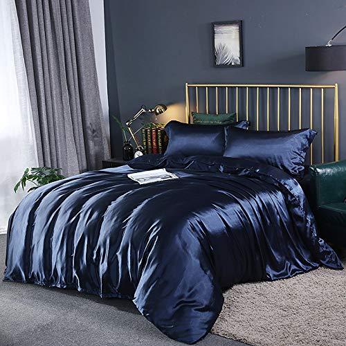 FJXJLKQS Doppelseitig Gewaschenes Bettzeug Aus Gewaschener Seide 4-teilig, Eisseide Seidenslip-kit, Geeignet Für Vier Jahreszeiten,BlueA-Double200X230cm