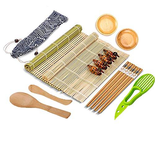 Sushi Sushi-set 16 stuks, sushi-maker voor beginners, 2 sushi-mat rolmatten + 4 paar eetstokjes + 2 borden + 1 houten rijstlepel + 1 bamboe mes + 1 avocado-mes + 1 linnen tas + 4 eetstokjesoplegger