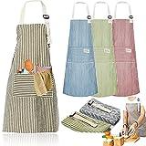 Senteen Delantal Cocina Algodon, 4pcs Delantal De Lino Ajustable Cooking Apron...